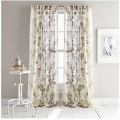 Dkny Landscape Set Of 2 Window Panels (210 SAR) ❤ liked on Polyvore featuring home, home decor, window treatments, curtains, linen, floral pattern curtains, linen curtain panels, pair curtains, linen curtains and patterned curtains