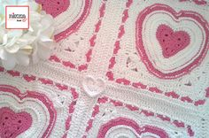 Crochet Baby blanket with bright pink HEARTS  100% cotton