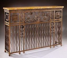 Wrought Iron & Marble top Console Radiator Cover by Edgar Brandt, 1925