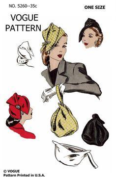 1944 Vogue 5260 Hat and Bags Moda Vintage, Vintage Vogue, Etsy Vintage, Vintage Fashion, 1940's Fashion, Cheap Fashion, Victorian Fashion, Fashion Women, Hat Patterns To Sew