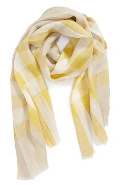 Burberry 'Giant Exploded Check' Linen Scarf available at #Nordstrom