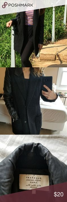 Zara coat Faux leather with a few imperfections and some pilling on the wool part of the coat and inside as well.The back of the collar is the biggest one but your hair would be covering it. The other 2 spots (pictured are on the sleeves, one on the inner arm, but both are not noticeable unless your looking for it. I got so many compliments on this coat. Not sure what the material is because I cut the tag since it was pretty long. I know it has some wool in it tho and it is dry clean. Zara…