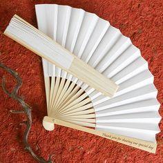 White Paper & Wood Thank You Fan - Wedding Favours - Beach Weddings