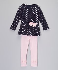 Look what I found on #zulily! Mommy's Little Peanut Purple & Pink Polka Dot Top & Leggings - Toddler & Girls by Mommy's Little Peanut #zulilyfinds