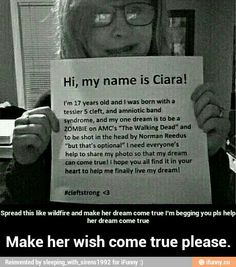 Please help her wish come true please im begging of you share it please! #cleftstrong