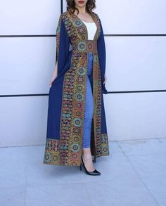 Navy Georgette Embroidered Open Abaya Kaftan Maxi Dress Long Split Sleeve - Women's style: Patterns of sustainability African Fashion Dresses, Fashion Outfits, Chic Outfits, Abaya Mode, Afghani Clothes, Mode Kimono, Afghan Dresses, Kurti Designs Party Wear, Abaya Fashion
