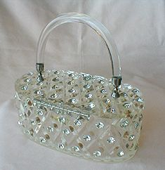 Vintage rhinestone covered lucite purse by Maxim.