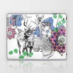 Deer+Essaouira,+Blue+&+Green+Laptop+&+iPad+Skin+by+Esther+Pallett+-+$25.00