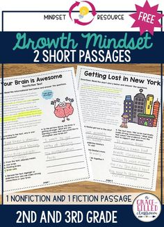 A growth mindset activity for elementary teachers that helps teachers begin talking about growth mindset. These free growth mindset printables have a nonfiction passage about the brain and a paired nonfiction text.