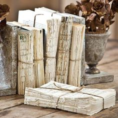 Decor - Books, in all forms! - Inspiration Book: Books Unbound | Unbound Vintage Books make a great accessory for library or bookcase ... (EVPL)