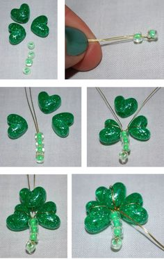 a patchwork world: Tutorial Tuesday: Shamrock Accessories with Beads and Buttons