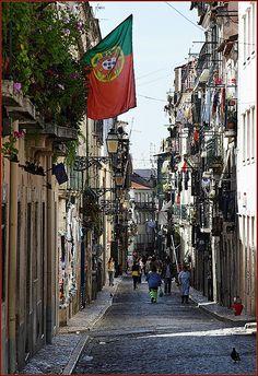 Bairro Alto road, Lisbon, Portugal