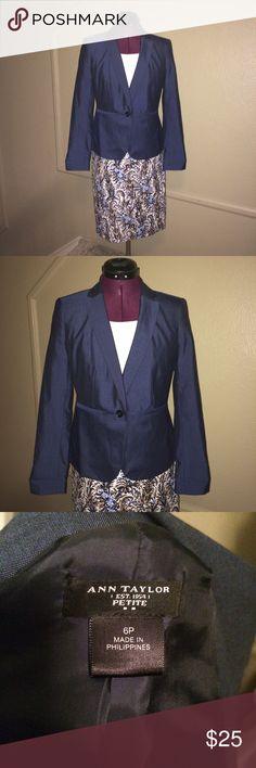 Ann Taylor Blazer A classic navy blazer. In excellent condition! Love the whole look? All the pieces pictured are available for sale in my closet. Bundle and save! MAKE AN OFFER! Ann Taylor Jackets & Coats Blazers
