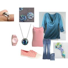 Plus Size Pink and Blue Casual Day