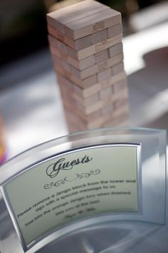 Oh Lovely Day: Guestbook Alternative: Jenga, Anyone? McAfee (not trying to plan your wedding - but i saw jenga and instantly thought of you) :) Jenga Wedding, Wedding Table, Wedding Blog, Diy Wedding, Wedding Reception, Dream Wedding, Wedding Ideas, Wedding Notes, Wedding Parties