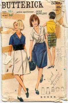 Vintage 1960s Pattern ~ A-Line Wrap Skirt ~ Bermuda Shorts ~ Shirt with Notched Collar ~ Bust 32 by VivsVintageSewShop on Etsy