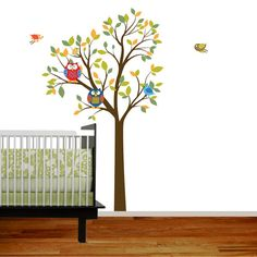 Vinyl wall decal sticker owl tree with birds by wallartdesign, $89.00