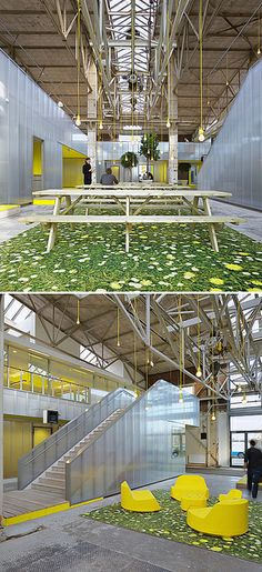 ECTOR HOGGSTAD ARCHITECTEN. Located in Rotterdam, the converted steel mill now houses a bright, airy office space.