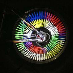 12 unids Bicicleta Clip de Tubo de Luz de Rayos de La Bicicleta Reflectante Reflectante de Advertencia Linterna Tubo de Luz Rueda de Bicicleta de Llanta de Acero de Color Brillante
