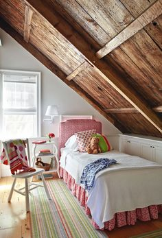a girl's attic bedroom