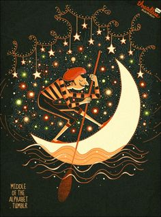 ✯ The Moon Gondolier :: Artist Jeremy Owen ✯ Luna Moon, Sky Moon, Sun Moon Stars, Sun And Stars, Moon Art, Good Night Moon, Moon Magic, Fairytale Art, Sky Art