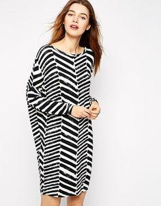 Ganni Tunic Dress in Brush Stroke Print-ASOS