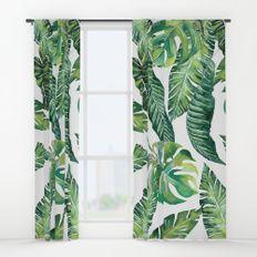 Jungle Leaves Banana Monstera Society6 Window Curtains