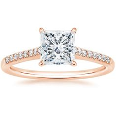 Princess Cut Lissome Diamond Engagement Ring - 14K Rose Gold