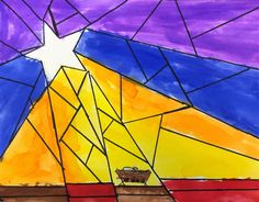 Nativity Star of Light Art Lesson for kids - Leah Newton Art Advent Art Projects, School Art Projects, Jesus In A Manger, Nativity Star, Glass Art Pictures, Color Crayons, Art Lessons For Kids, Stained Glass Art, Native Art