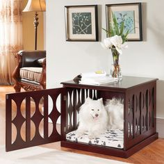 Wooden Dog Kennel Crate End Table Side Furniture Puppy Pad Cage Pet Bed Mahogany *** Details can be found by clicking on the image. (This is an affiliate link) Wooden Dog Crate, Wooden Dog Kennels, Dog Crates, Dog Crate Pads, Crate End Tables, Puppy Crate, Puppy Pads, Pet Furniture, Furniture Sets