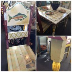 Tracy Porter table w/2 chairs hand painted with fish, rod, creel available at The Courtyard  shopthecourtyard.com