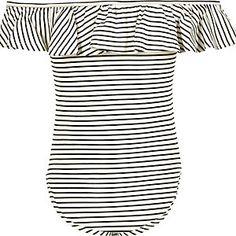 Girls black stripe bardot ruffle bodysuit