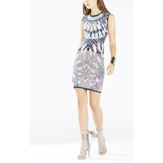 BCBGMAXAZRIA Jose Batik Fans Jacquard Dress found on Polyvore featuring polyvore, fashion, clothing, dresses, dark ink combo, white fitted dress, sleeveless dress, bcbgmaxazria dress, tight bodycon dresses and sleeveless bodycon dress