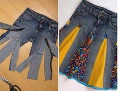Saia feita com calça jeans...
