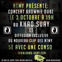 """NTMY Concert au KHAO SUAY+ Diffusion du nouveau clip """"Trip"""" Jeu 03 Octobre"""