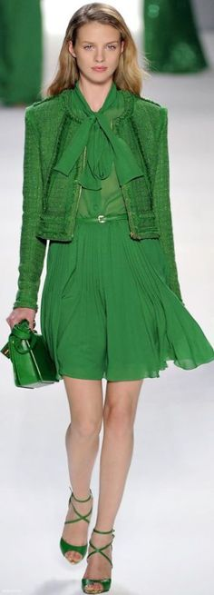 Elie Saab bright green outfit. Nice for light spring