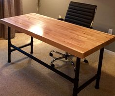I don't typically work with reclaimed materials, but recently a client asked if I could make a modern style desk out of a chunk of bowling alley flooring he. Pipe Furniture, Home Office Furniture, Butcher Block Desk, Butcher Blocks, Computer Desk Design, Diy Desktop, Reclaimed Wood Desk, Rustic Desk, Metzger