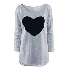 Tops Tee Shirt Motif Cœur Manche Longue Pour Femmes