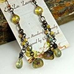 Buttercups Handcrafted Artisan Glass Dangle Drop by enlalumiere, $34.00