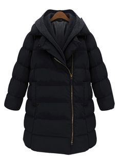 Black Longline Parka Coat With Removable Hood   abaday