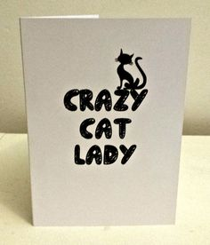 Crazy Cat Lady Card by PrincessMooGifts on Etsy Crazy Cat Lady, Crazy Cats, Greeting Cards, Unique Jewelry, Funny, Handmade Gifts, A4, Vintage, Etsy