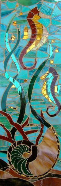 Sea Horse & Nautilus ~ Lizzie Tucker, Glass Mosaic