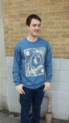 Men's T-shirt blue- Long sleeve - spring style fashion @ Black Bear Trading Asheville N.C.