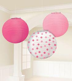 Niedliches Papierlampion-Set für Babypartys & kleine Mädchen mit rosa, pinkem und gepunktetem runden Lampion. 3 Stück mit je 24 cm Durchmesser.