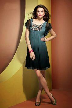Black and bluish grey casual dress