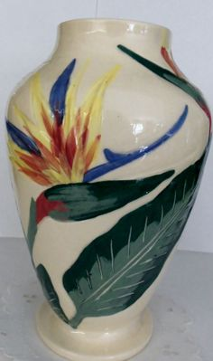 Vintage Weil of California Bird of Paradise Pottery Vase Tropical Weil Ware 1940's
