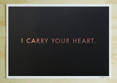 Black list Store - Carry Your Heart Rose Foil Print (Medium) in a pink or green frame