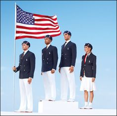 This product image released by Ralph Lauren shows U. Olympic athletes, from left, swimmer Ryan Lochte, decathlete Bryan Clay, rower Giuseppe Lanzone and soccer player Heather Mitts modeling the the official Team USA Opening Ceremony Parade Uniform. 2012 Summer Olympics, Us Olympics, Winter Olympics, Beijing Olympics, Olympic Athletes, Olympic Team, Olympic Games, Olympic Sports, Team Usa