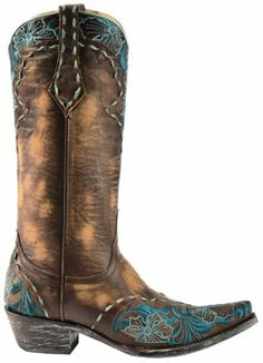 Old Gringo Erin Turquoise Floral Embroidered Cowgirl Boots - Snip Toe - Sheplers