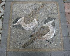 Pebble Mosaic - Chickadees - by Kathleen George
